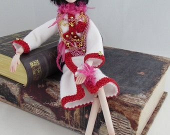 COCO, Porcelain Fashion Doll, jointed puppet art doll, handmade in the USA
