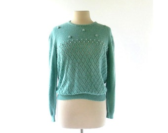 Vintage Beaded Sweater | 70s Top | Pistachio Green Sweater | L XL