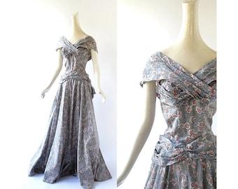 Vintage 40s Gown / 1940s Dress / Shall We Dance / Taffeta Dress / 1940s Evening Dress / XS