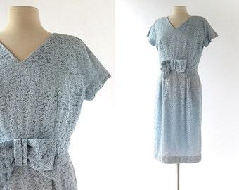 1950s Cocktail Dress | Frostbite | Blue Lace Dress | 50s Dress | Large L