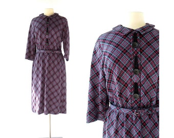 1950s Plaid Dress / Winter Sky Tartan Dress / 50s Dress / L XL