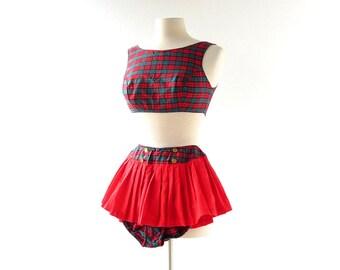 Vintage 1960s Swimsuit / Red Plaid Bikini / Two Piece Bathing Suit / XXS XS
