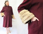 40s Maroon Wool coat with FUR CUFFS size medium