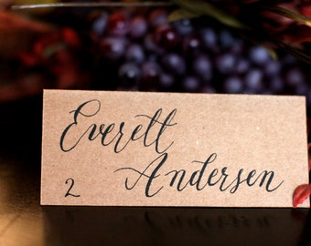 Custom hand lettered calligraphy place cards, wedding escort cards, dinner party