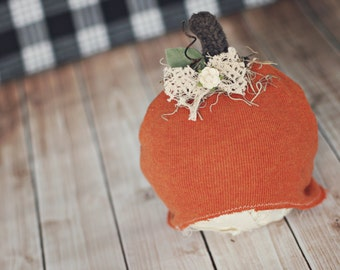 12 to 24 month pumpkin hat // Halloween photo prop // fall pumpkin up cycle // ready to ship //baby fall photo prop // cinnamon