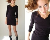 Body Con Mini Dress Vintage 80s Black YOUNG EDWARDIAN Knit Body Con Micro Mini Dress (s m)