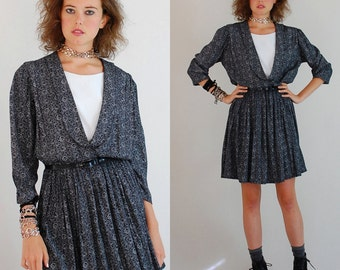 Secretary Mini Dress Vintage Black and White Floral Print Blouson Indie Preppy Secretary Dress (m l)