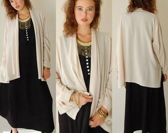 Draped Jacket Vintage Beige Light and Flowy Draped Shawl Blazer Jacket (one size)