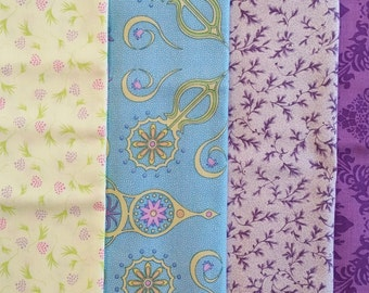 FQ053 ~ 4 Fat quarters Purple fabric Turquoise fabric Green fabric Floral print Quilting