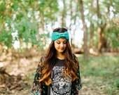 Knitted Turban Headband in Jade Green // Spearmint Cinched Bow Earwarmer // Knit Teal Earwarmer