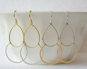 Gold and Silver Hoop Earrings, Mixed Metal Jewelry Valentine