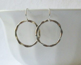 Circle Earrings, Silver Round Dangle Earrings