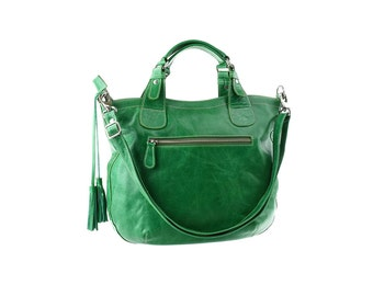Green leather handbag, women leather purse, shoulder leather bag, leather tote, handbag with tassel
