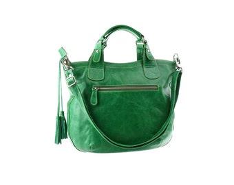 SALE - Green leather handbag, women leather purse, shoulder leather bag, leather tote, handbag with tassel