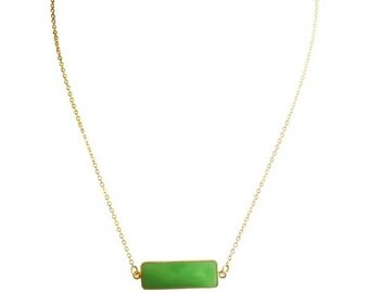 Green Chalcedony Necklace, Green Gemstone, Gold Filled Necklace