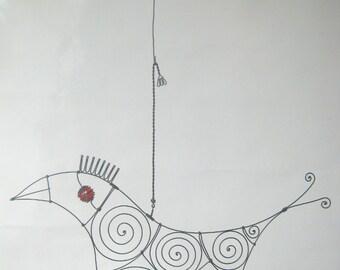 Wire Sculpture / Another Bird In Red