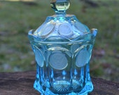 Fostoria Blue Coin Glass Lidded Container