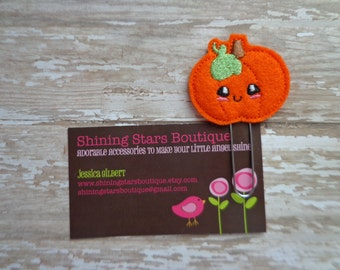 Felt Paper Clips - Bright Orange Halloween Or Fall Happy Pumpkin Paper Clip Or Bookmark - Holiday Accessories For Teachers Or Students
