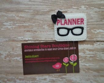Embellished Felt Planner Clips - Pink, White, And Black Planner Nerd With Nerdy Glasses Paper Clip Or Bookmark - Accessory Agenda Notebooks
