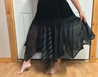 XL Sheer Black Skirt with Pockets/Long Skirt/Plus Size/Steampunk Skirt/Wiccan Skirt/Uneven Skirt/Fairy Skirt/Dance/Gypsy/Upcycled Recycled