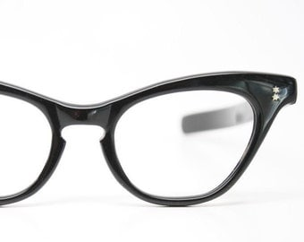 Black Winged Cateye Eyeglasses Frames  Atomic Star Studs Optical Frames NOS Vintage 1950s