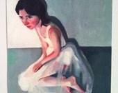Naomi Like an angel / square print on paper - print of original acrylic painting - woman face art - wall art