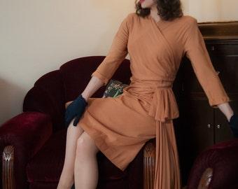 Vintage 1940s Dress - Elegant Cantaloupe Rayon Crepe 40s Dress with Surplice Neckline and Waterfall Hip Drape
