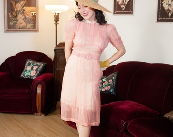 Vintage 1930s Dress - Late 30s Ultra Sheer Petal Pink Day Dress with Pleated Bodice and Lace Collar