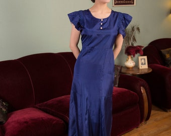 Vintage 1930s Dress - Royal Blue30s  Garden Party or Evening Dress in Slippery Acetate with Pink Accents