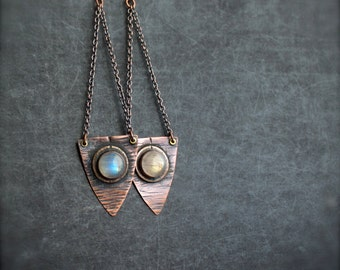 White Rainbow Moonstone Shield Earrings - Oxidized Copper, Long Shoulder Dusters, Chain Dangle, Hammered Texture, Rustic Gemstone Jewellery