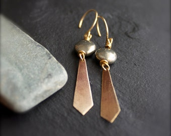 Grey Pyrite, Gold Brass Dangle Earrings - Oxidized Patina, Textured Diamond, Long Point, Boho Stone Jewellery