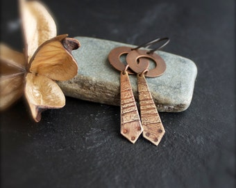 Tribal Inspired Dangle Earrings - Oxidized Copper, Etched Brass, Mixed Metal, Long Diamond, Boho Metalwork Jewellery