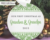 Grandma and Grandpa Ornament First Christmas as Grandparents Personalized Ornament - Jazzy Damask Pattern  - Item# JAZ-GG-O