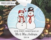 Our First Christmas as Mr and Mrs Just Married Gift Personalized Wedding Gift First Married Christmas Snowman Ornament Snow Couple -#SC-MM-O