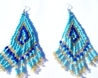 Native Turquoise Blue and Gold Hand Beaded Chandelier Earrings