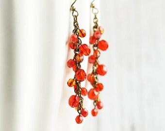 Dark Orange Earrings - Long Orange Cluster Earrings, Beaded Dangle Earrings with Antiqued Brass Hooks, Fall Accessories, Autumn Jewelry