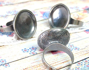 Silver Round Ring Blank concave setting for 21mm round cab , Adjustable mid band, oxidized rustic boho ring base , Sterling Silver plated