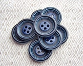 Striped Blue Buttons, 3/4 inch - CHOOSE 19mm, 20mm - Lapis Blue Bull's Eye Sewing Buttons - 8 VTG Navy Blue Retro Ring-Around Buttons PL235