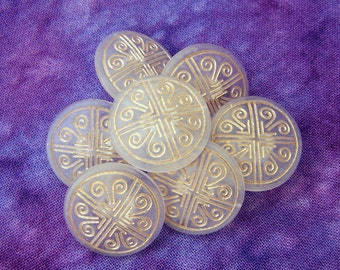 Nautical Wind Buttons, 19mm 3/4 inch - Four Directions Compass Buttons - 7 VTG NOS Frosted Clear Buttons with Metallic Gold Swirls PL371