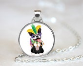 Mardi Gras Boston Terrier Changeable Magnetic Pendant Necklace and Paw Print Organza Bag
