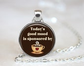 Today's Good Mood is Sponsored by Coffee Changeable Magnetic Pendant Necklace with Organza Bag