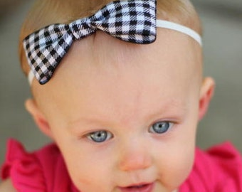 SALE - Black and White Gingham Bow