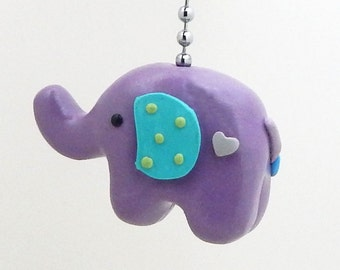 Elephant Fan Pull Chain - Purple, Lavender, Turquoise - Elephant Nursery -  Jungle Safari Themed Room Decor - Polymer Clay