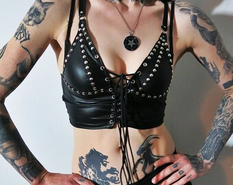 Hell Couture Studded Leatherette Crop Top