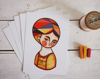 Autumn postcards orange & mustard illustration, set of 5