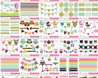 ON SALE Clipart Bundle - 100 Sets Personal & Commercial Use Clip Art Graphics - Clipart Classics Set 1