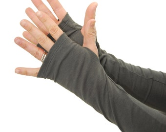 Arm Warmers in Smoke Grey - Long Fingerless Gloves - LAST PAIR