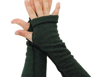 Arm Warmers in Darkest Forest Green  - Upcycled Merino Wool - S/M