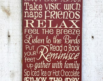 Porch Rules typography subway large wood sign