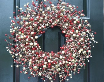 Red and Cream Berry Wreath- Valentines Day Wreath- Berry Door Wreath- Year Round Wreath- Christmas Wreath- Winter Wreath- Christmas Decor
